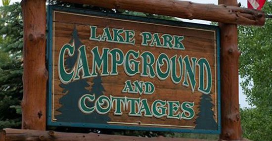 lake park campground sign